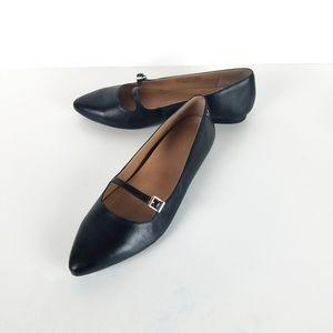 Vionic Delilah Black Leather Mary Jane Flats Sz 10